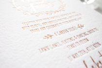 Maytide letterpress wedding stationery - lovers wreath